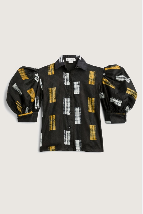 Stitch Fix Elevate grantees women's puff-sleeve black, yellow and white top.