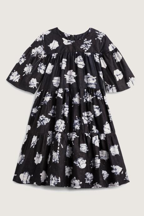 Black Stitch Fix Elevate Busayo dress with white Adire print.