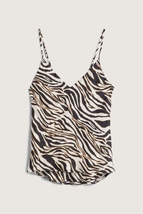 Stitch Fix Elevate Chloe Kristyn women's spaghetti strapped zebra print top.