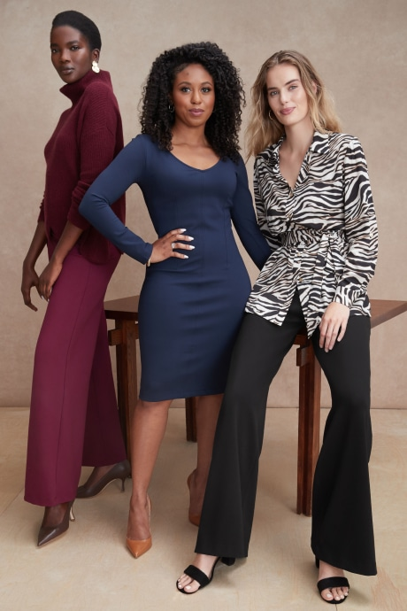 Models and Stitch Fix Elevate grantee wearing women's workwear clothing by Chloe Kristyn.