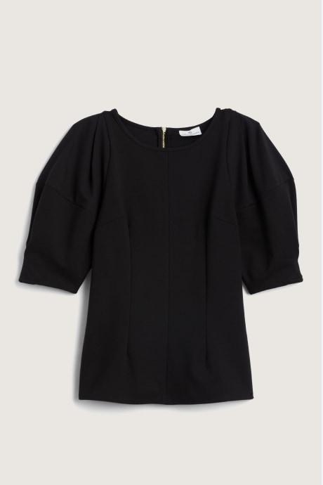 Stitch Fix Elevate Chloe Kristyn women's black blouse with puff sleeves.