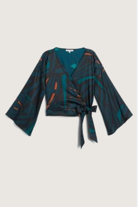 Stitch Fix Elevate women's multi colored and patterned wrap top by Diarrablu.