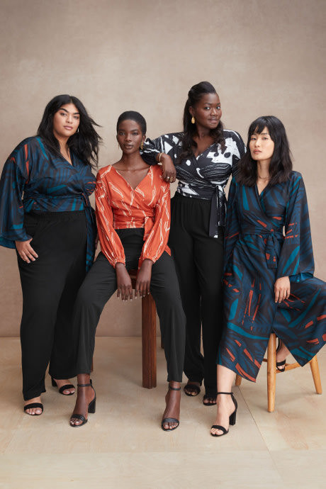 Models and Stitch Fix Elevate grantee wearing multi-colored and patterned dresses and tops with black pants by Diarrablu.
