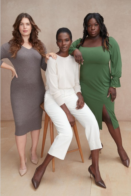 Models and Stitch Fix Elevate grantee wearing multiple shades of women's nude pumps with grey and green dresses, white pants top.