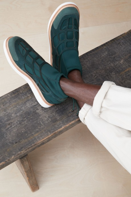Stitch Fix Elevate grantees men's geometric green suede shoes.