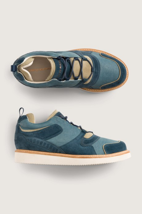 Stitch Fix Elevate grantees men's two-tone tan and green suede and nylon shoes.