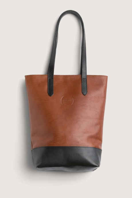 Stitch Fix Elevate grantees women's brown and black leather tote bag.
