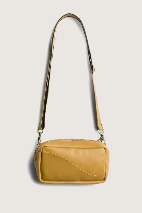 Stitch Fix Elevate grantees women's small yellow cross-body shoulder bag.