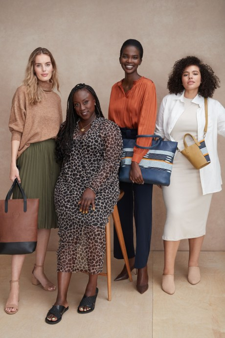Models and Stitch Fix Elevate grantee wearing casual clothes and multiple sized leather handbags.