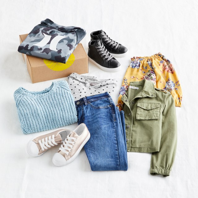 Stitch Fix women's clothes including a pink tie dye shorts and cami set with tie detail and white sandals.