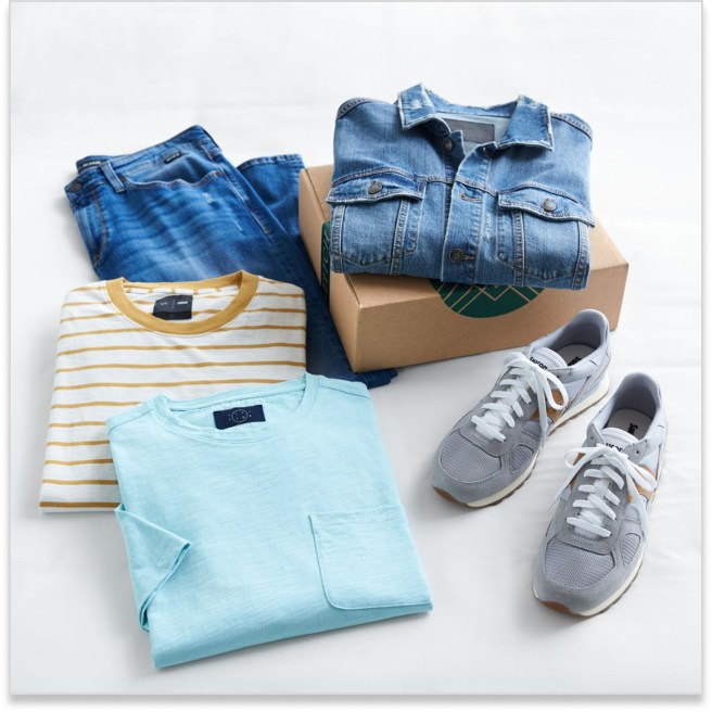 Stitch Fix men's casual clothes including jeans, striped tee, blue shirt, denim jacket and grey sneakers.