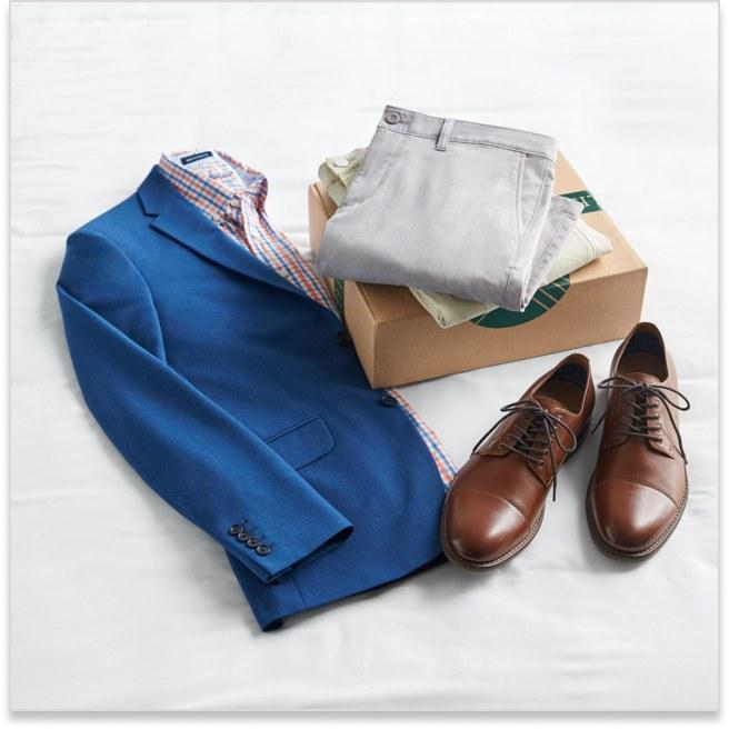 Stitch Fix men's dressy clothes including button shirt, blazer, tan slacks and brown dress shoes.