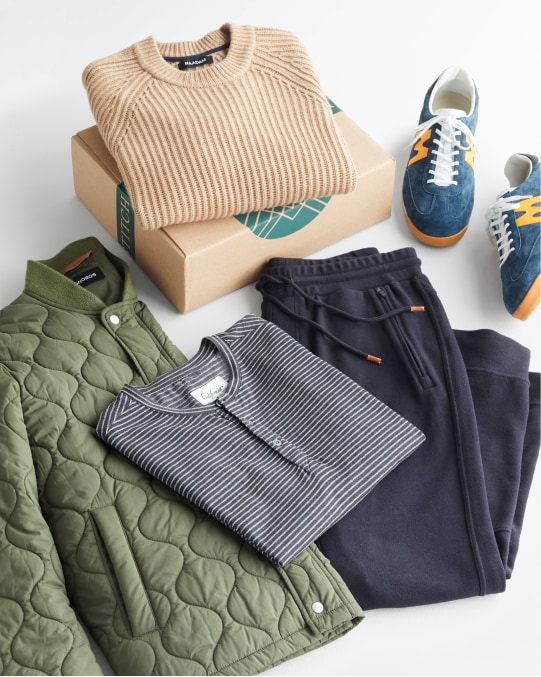 Stitch Fix men's clothes including a sweater, shirt, joggers, sneakers and a jacket.
