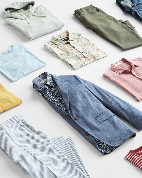 Stitch Fix men's clothes including a blazer, pants, shirts, hoodie and t-shirts.