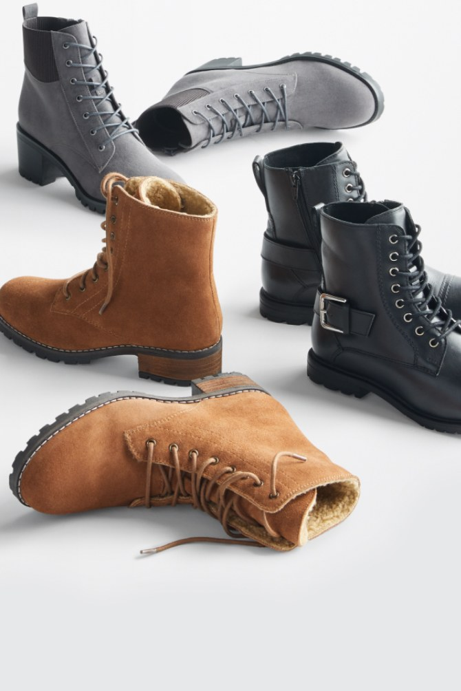 Stitch Fix women's boots in grey, black and brown leather.