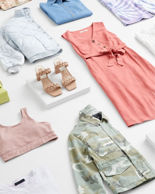 Stitch Fix women's clothes including shirts, tops, athleisure, shoes, a jacket and dress.