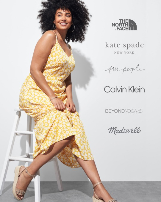 Stitch Fix women's clothes including a yellow floral dress and sandals.