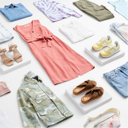 Stitch Fix women's plus-size clothing including a dress, shirts, tops, pants, shorts, jacket and shoes.